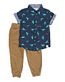Little Boys 2pc Dino Woven & Jogger Set
