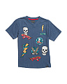 Little Boys Slub Patch V Neck T Shirt