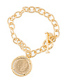 Made In Italy Gold Plated Bronze Coin Bracelet