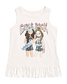 Girls  Embellished Graphic Fringe Tank