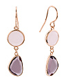 Made In Italy Sterling Silver Rose Quartz Amethyst Earrings