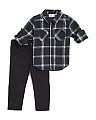 Toddler Boys Flannel Shirt & Stretch Corduroy Pants Set