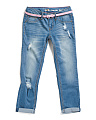 Big Girl Belted Destructed Jeans