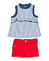 Infant Girls Washed Top & Embroidered Short Set