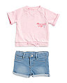Infant Girl French Terry Top & Denim Short Set