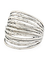 Made In Israel Sterling Silver Hammered Wire Ring