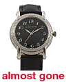 Women's Swiss Made Diamond And Black Leather 36mm Watch