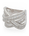 Sterling Silver Cz Baguette Crossover Ring