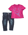 Infant Girl 2 Piece Horseshoe Logo Short Sleeve Tee And Deni