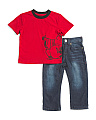Toddler Boy 2pc Buddha Short Sleeve Tee And Denim Pants