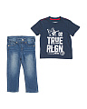 Toddler Boys 2pc Short Sleeve Tee And Denim Pants Set