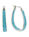 Aqua Crystal Hoop Earrings