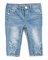 Toddler Girl Flower Embellished Scallop Jeans