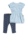 Toddler Girl Chambray Dress And Legging Set