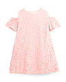 Little Girls Lace Cold Shoulder Swing Dress