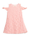 Little Girls Lace Tie Cold Shoulder Dress