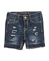 Toddler Girls Destructed Bermuda Shorts