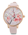 Women's Floral Dial Leather Strap Watch