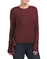 Juniors Side Tie Ribbed Sweater