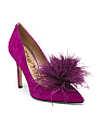 Feather Pom Suede Pumps