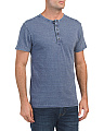 Short Sleeve Enzyme Washed Henley