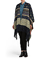 Printed Ruana With Fringe