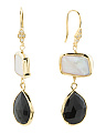 Made In India Sterling Silver Onyx And Pearl Earrings