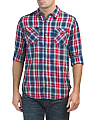 Brushed Washed Twill Plaid Top