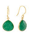 Made In Thailand Green Onyx And Bronze Teardrop Earrings