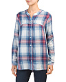 Plaid Long Sleeve Button Down Tunic