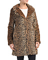 Juniors Leopard Print Faux Fur Coat