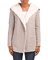 Juniors Faux Sherpa Lined Cardigan