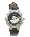 Women's Swiss Made Logo Dial Textured Leather Strap Watch