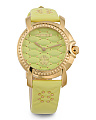 Women's Swiss Made Quilted Leather Strap Watch
