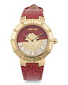 Women's Swiss Made Logo Dial Textured Leather Strap