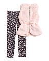 Big Girls 2pc Faux Fur Vest & Legging Set