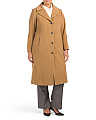 Plus Wool Blend Notch Collar Coat