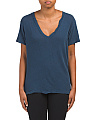 Linen Blend The V Neck Tee
