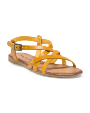 image of Leather Strappy Flat Sandal