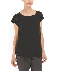 image of Studded Shoulder Detail Top