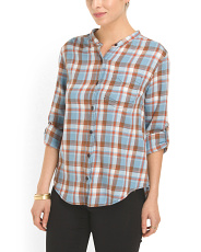 image of Cotton Hi Lo Plaid Top