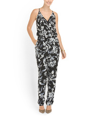 image of Surplice Top Printed Jumpsuit