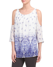 Made In USA Apollo Printed Cold Shoulder Top