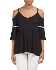 Made In USA Cold Shoulder Swing Top
