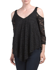 Made In USA Cold Shoulder Lace Top