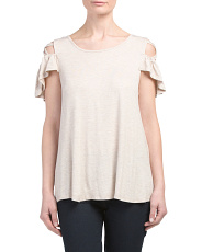 Made In USA Criss Cross Cold Shoulder Top