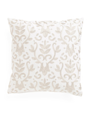 Made In India 20x20 Embroidered Medallion Pillow
