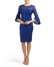 Petite Made In USA Bell Sleeve Lace Dress
