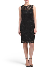 Petite Sleeveless Lace Dress With Sequins