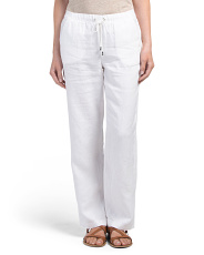 Petite Wide Leg Linen Drawstring Pants